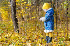 Little girl full length profile standing at yellow and orange autumn fallen leaves groundcover Stock Photography