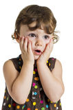 Little girl fully surprised. Three years old little girl in brown polka-dot dress fully surprised of seeing something royalty free stock photos