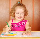 Little girl fun and drawing Royalty Free Stock Image