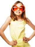 Little girl with fun orange carnaval glasses Royalty Free Stock Images