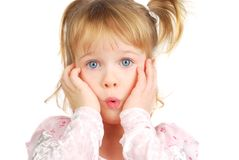 Little girl with funny face. Stock Images