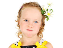 Little girl with  funny face. Little girl making funny face expression. Isolated on the white Royalty Free Stock Photos