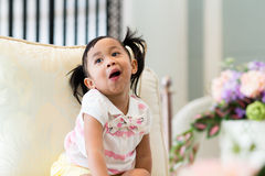 Little girl with funny face expression Royalty Free Stock Photos