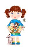 Little girl with funny kittens stock illustration