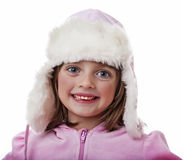 Little girl with a fur hats Stock Photography