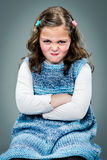Little Girl with Furious Expression stock photo
