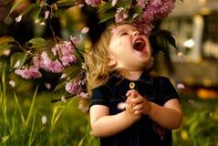 Little girl in garden Stock Image