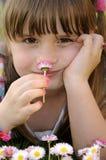 Little girl garden portrait Stock Images