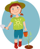 Little girl gardener. Cute cartoon kid with a basket and scoop planting a tree sprout, vector illustration stock illustration