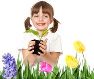 Little girl gardening Stock Photo