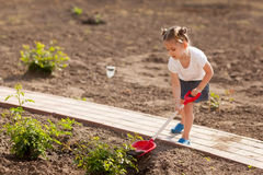 Little girl gardening in summer day Royalty Free Stock Image