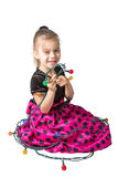 Little Girl with Garland Stock Photos