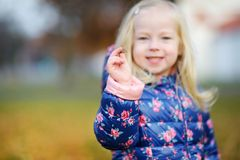 Little girl gathering acorns for crafting and playing on beautiful autumn day Royalty Free Stock Photo