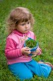 Little girl gathering grass Stock Photography
