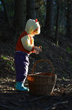 Little girl gathers mushrooms Royalty Free Stock Photography
