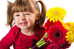 Little girl with gerbera flowers bouquet Royalty Free Stock Image
