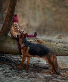Little girl with German shepherd 6-th months puppy at early spring. Forest stock image