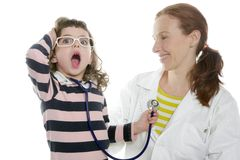 Little girl gesture pretending doctor Royalty Free Stock Photos