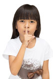 Little girl gesturing silence sign. Isolated over white Stock Photos