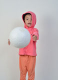 Little girl is get the ball. Royalty Free Stock Image
