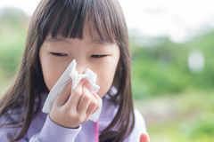 Little girl get cold Stock Image