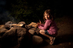 Girl getting warm Royalty Free Stock Photography