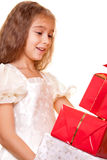 Little girl and gift Stock Photography