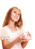 Little girl and gift Royalty Free Stock Photo