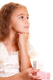 Little girl and gift Stock Photo
