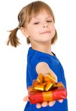 Little girl with gift Stock Photography