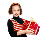 Little girl with gift Royalty Free Stock Images