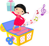 Little girl with gift box. Illustration a cute little girl with gift box Stock Photo