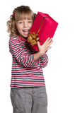 Little girl with gift box Royalty Free Stock Photo