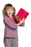 Little girl with gift box Royalty Free Stock Photography