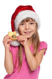 Little girl with gift box Royalty Free Stock Image