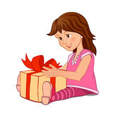 Little girl with gift box. A little girl in a pink dress with a gift box isolated on white background Stock Photo