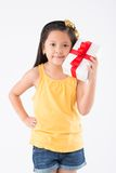 Little girl with gift box Royalty Free Stock Images
