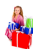Little girl with gift boxes Royalty Free Stock Photo