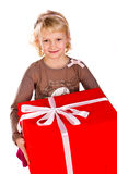 Little girl with gift boxes Royalty Free Stock Image