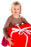 Little girl with gift boxes Stock Photography