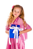 Little girl with gift boxes Royalty Free Stock Images