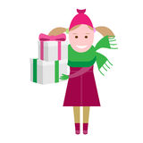 Little girl with gift boxes Stock Images