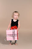 Little girl with gift Royalty Free Stock Image