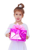 Little girl with gift Royalty Free Stock Photos