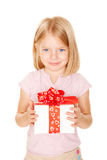 Little girl with gift. Holiday concept. Ready for your text or symbol. Isolated on white background Stock Photo