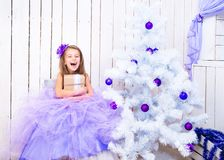 Little girl with a gift   near Christmas tree Royalty Free Stock Images