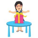 Little Girl Gift Vector Illustration Stock Image