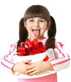 Little girl with a gift on white background stock photography
