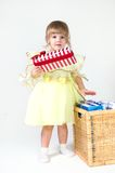 Little girl with giftbox Royalty Free Stock Photography