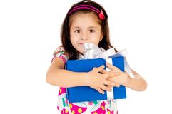 Little girl with gifts Stock Photography